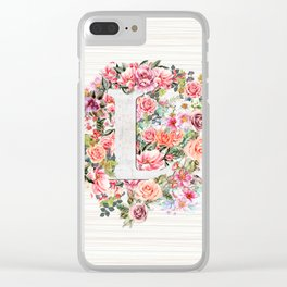 Initial Letter L Watercolor Flower Clear iPhone Case