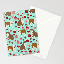 English Bulldog valentines day dog breeds gifts for dog lovers custom pet portraits Stationery Cards