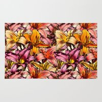 bedding Area & Throw Rugs featuring Daylily Drama - a floral illustration pattern by micklyn
