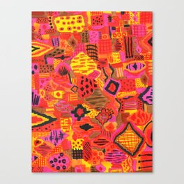 Boho Patchwork in Warm Tones Canvas Print