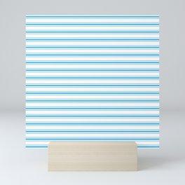 Oktoberfest Bavarian Blue and White Large Mattress Ticking Stripes Mini Art Print