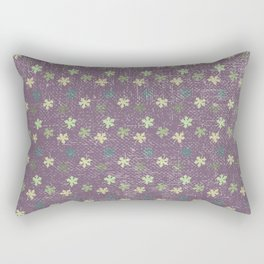 Vintage mauve purple green abstract leaves pattern Rectangular Pillow
