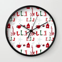 Christmas Cosy white Wall Clock