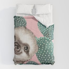 Sneaky Baby Sloth and Cactus in Pink Comforters