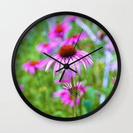 Garden full of Pink Coneflowers Digital Oil Painting Wall Clock