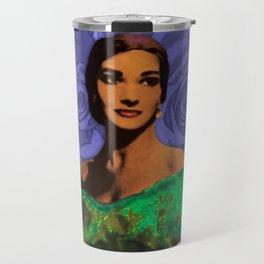Maria Callas Stenciled Indigo Travel Mug