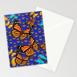 MODERN BUTTERFLY BLUE ABSTRACT WORLD Stationery Cards