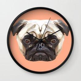 Pug // Peach Wall Clock
