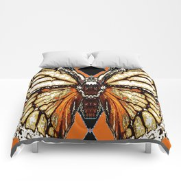 RIBBED WHITE BROWN & BLACK BUTTERFLY WING VEINS Comforters