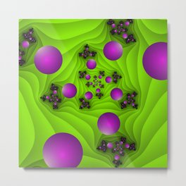 Fractal With Depth, Pink Green Neon Colors Metal Print
