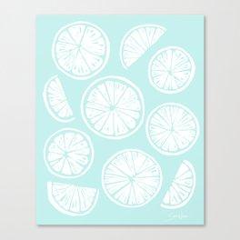Citrus Wheels - Blue and White Canvas Print