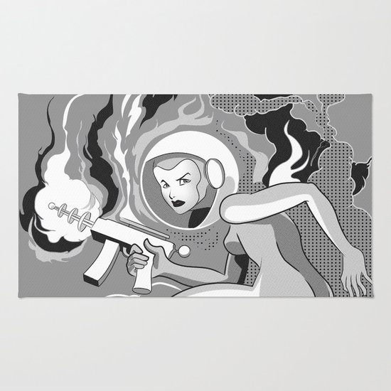 Space Girl with a Gun Rug