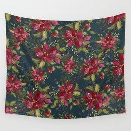 Poinsettia Pattern II Wall Tapestry
