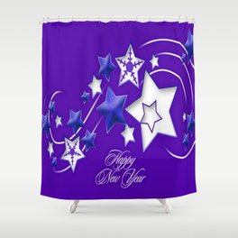 Blue and Purple Happy New Year Shooting Stars Shower Curtain