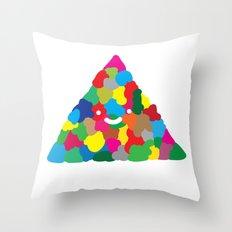 happy colour triangle Throw Pillow