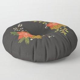 Winter Florals on Black Floor Pillow