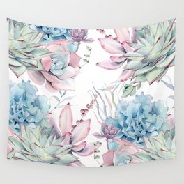 Pretty Pastel Succulents Garden 2 Wall Tapestry