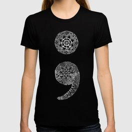 Patterned Semicolon: White on Black T-shirt