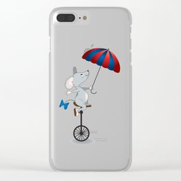 Mouse on unicycle Clear iPhone Case
