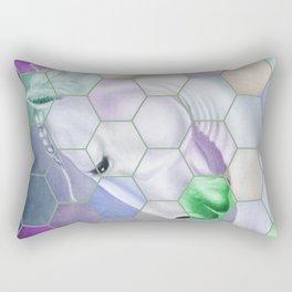 Rainbow Lusitano Mosaic Tiled Art Rectangular Pillow
