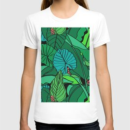 Jungle Leaves Illustrated in Black T-shirt