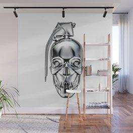 Skull grenade silver Wall Mural