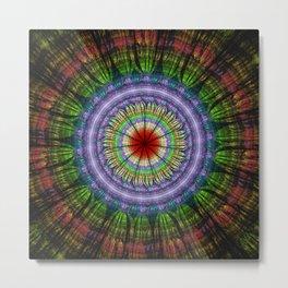 Groovy painterly mandala with tribal patterns Metal Print