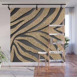 Gold Glitter Zebra Stripes on Dark Metallic Wall Mural