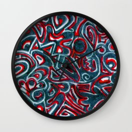 Jack Teal/Red Wall Clock