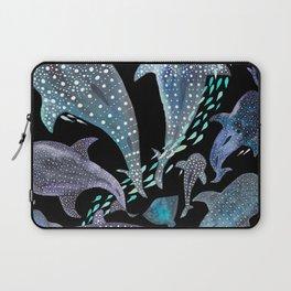 Whale Shark, Ray & Sea Creature Play Print, in Black Laptop Sleeve