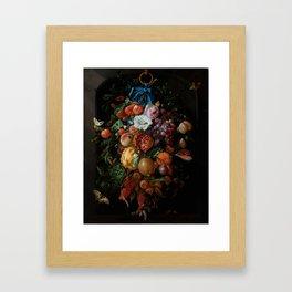 "Jan Davidsz. de Heem ""Festoon of Fruit and Flowers"" Framed Art Print"
