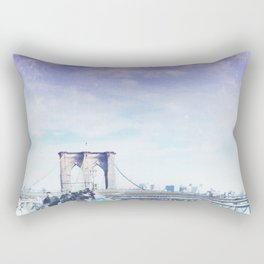 Brooklyn Bridge Blue Rectangular Pillow