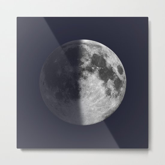 First Quarter Moon on Navy Metal Print