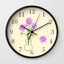 three daisies in the vase Wall Clock