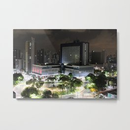 Portugual Square at Night - Fortaleza - Brazil Metal Print