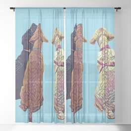 Three Amigos I in aqua Sheer Curtain