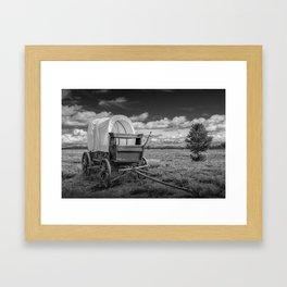 Prairie Schooner Covered Wagon in the Grand Tetons in Black and White Framed Art Print