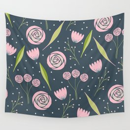 Roses, berries and leaves Wall Tapestry