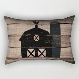 Black Rustic Barn & Rooster Rectangular Pillow