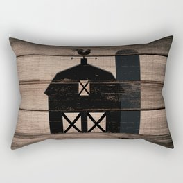 Black Rustic Barn & Rooster Rectangular Pillow