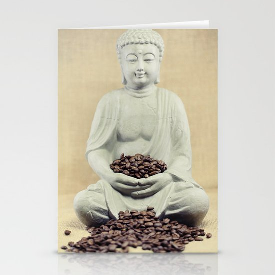 Coffee beans Buddha 3 Stationery Cards