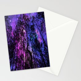 Black Trees Purple Fuchsia Blue space Stationery Cards
