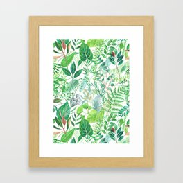 greenery watercolor pattern Framed Art Print