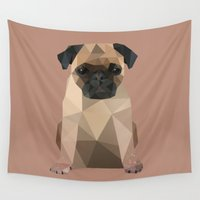 pug Wall Tapestries featuring Pug by Diana D'Achille