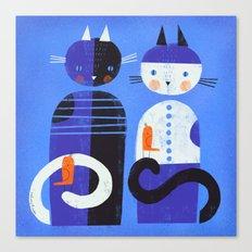 BLUE CATS ORANGE BIRDS Canvas Print