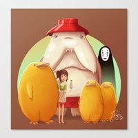 studio ghibli Canvas Prints featuring Studio Ghibli - Radish Spirit by Laurence Andrew Page Illustrator