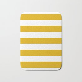 Mustard yellow - solid color - white stripes pattern Bath Mat