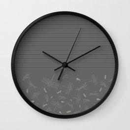 Dragonfly Pattern on Warm Grey Wall Clock