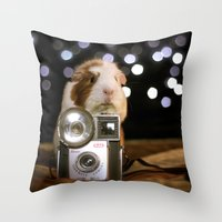 guinea pig Throw Pillows featuring Guinea Pig Photographer  by The Wheekly