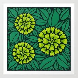 Spring Green Floral pattern Art Print
